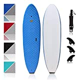 Premium Surfboard for Beginners – Wax-Free Soft-Top Foam Surfboard – 8' Verve Blue with 3 Thruster Fins, Fin Key, and 7' Leash – Custom Beginner Shape for Easier, Better Surfing for Adults & Kids