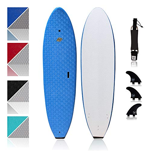 Premium Surfboard for Beginners – Wax-Free Soft-Top Foam Surfboard – 8'8' Ruccus Blue with 3 Thruster Fins, Fin Key, and 7' Leash – Custom Beginner Shape for Easier, Better Surfing for Adults & Kids