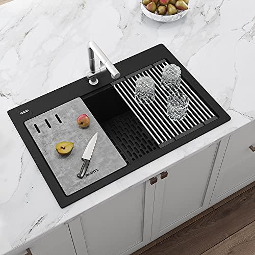 Ruvati 33-inch Workstation Granite Composite Matte Black Drop-in Topmount Kitchen Sink - RVG1302BK