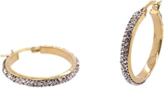 Bevilles 9ct Yellow Gold Silver Infused Crystal Hoop Earrings 20mm