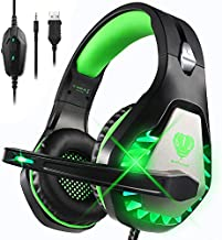 DIWUER Gaming Headset for Nintendo Switch, PS4, Xbox One with Noise Cancelling Mic, Soft Earmuffs Surround Sound Over Ear Headphones with LED Light for PC, Laptop