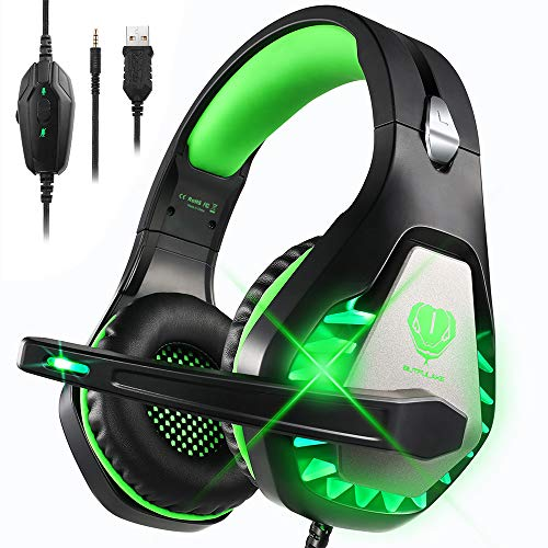 DIWUER Stereo Gaming Headset for Nintendo Switch, PS4, Xbox One with Noise Cancelling Mic, Soft Earmuffs Surround Sound Over Ear Headphones with LED Light for PC, Mac, Laptop