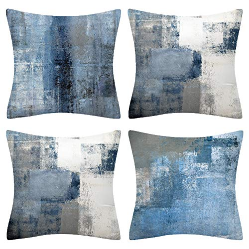 BCKAKQA Cushion Covers 45cm x 45cm Set of 4 Navy Blue Grey Throw Pillow Covers 18x18 inches Soft Polyester Square Decorative Throw Pillow Cases for Living Room Sofa Couch Bed Pillowcases