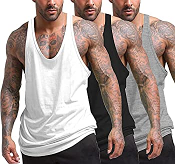 COOFANDY Men s 3 Pack Gym Tank Tops Y-Back Workout Muscle Tee Fitness Bodybuilding T Shirts  01_Black/White/Gray Large