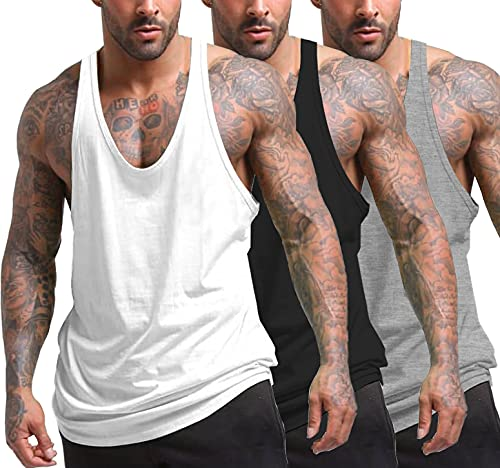 COOFANDY Men's 3 Pack Gym Tank Tops Y-Back Workout Muscle Tee Fitness Bodybuilding T Shirts (01_Black/White/Gray:, Medium)