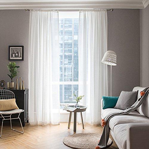 MIULEE 2er Set Voile Vorhang Transparente Gardine aus Voile Polyester Schlaufenschal Transparent Wohnzimmer Luftig Dekoschal für Schlafzimmer 160 x 140cm (H x B), Rod Pocket Weiß