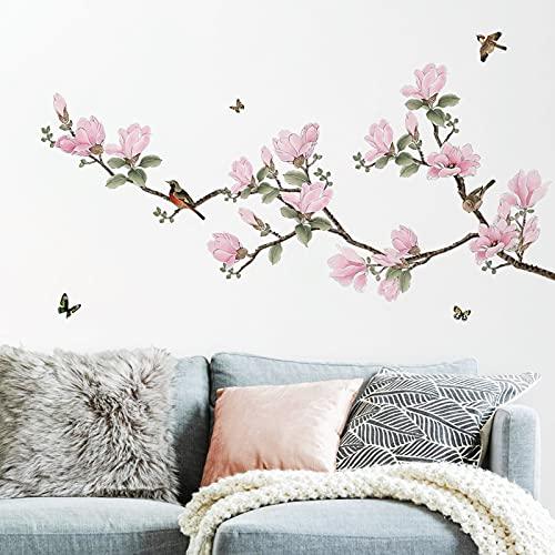 decalmile Pegatinas de Pared Flores Magnolia Rosa Vinilos Decorativos Aves en Rama Adhesivos Pared Salón Dormitorio Salón Comedor