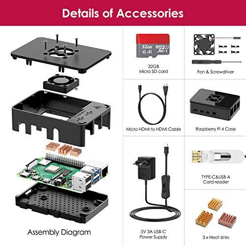 Bqeel Kit Raspberry Pi 4 Model B da 8GB RAM+MicroSD 32GB, RPi Barebone con Accessori 1 Cavo HDMI, Alimentatore 5.1V 3A con Interruttore ecc (8G +32G)