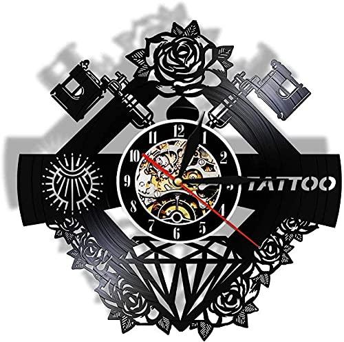 Reloj de pared para máquina de tatuaje de tela, hecho de vinilo real, estudio de tatuajes, tienda, reloj negro, reloj hipster que cambia de color, luz nocturna Satt (color 1 tamaño: talla única)