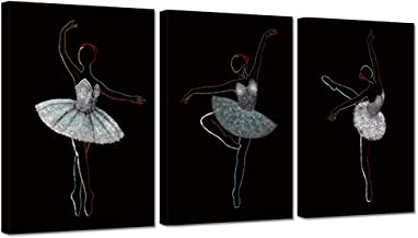 Hello Artwork 3 Pieces Canvas Wall Art Ballet Girls Dancers Modern Large Contemporary Black and White Dancing Picture Print On Canavs Stretched and Framed for Home Girls Room Decoration Ready to Hang