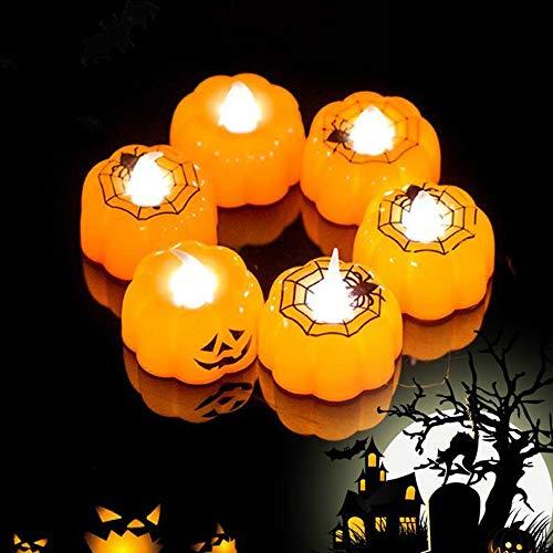 Home Holic Citrouilles Halloween LED Lumineuses,Lumière de Bougie, Accessoires de Décoration Barre de Jardin de Halloween (Style1)