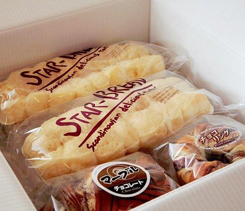 手作りパン詰め合わせ 5点セット(スターブレッド:チーズ×1、スターブレッド:ミルク×1、マーブル:チョコ×1、デニッシュ:メープル×1、デニッシュ:チョコ×1) マルシャン