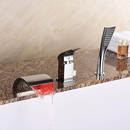 BFTAPS LED Wannenrandarmatur DREI-Loch-Badewanne Wasserhahn mit Handbrause Chrom Wasserfall Badarmatur Einhebel Badewannenarmatur,ChromeFaucet