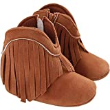 AMSDAMA Girl Baby Shoes Infant Soft and Light Cotton Sole Cotton fringed Moccasins Flats Toddler (Cotton Sole/Khaki C65,6 Months)