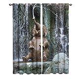 AHJJK Cortina Opaca Bebé Elefante rociar Agua Aislantes Reducción de Ruido con Ojales Poliéster Cortinas-Aplicar para Dormitorio Moderno Salón Y la habitación de los niños 2 Pieza110x215 cm