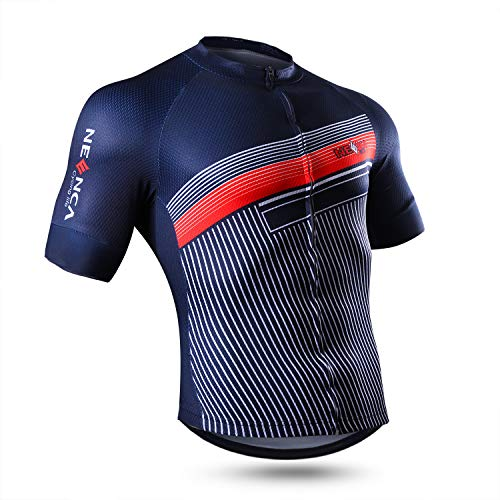 NEENCA Herren Radtrikot Fahrradtrikot Kurzarm Sport T- Shirt Schnelltrockendes Atmungsaktives Elastisches Radshirts mit DREI Rückentaschen und Reißverschluss aus Polyester - 2