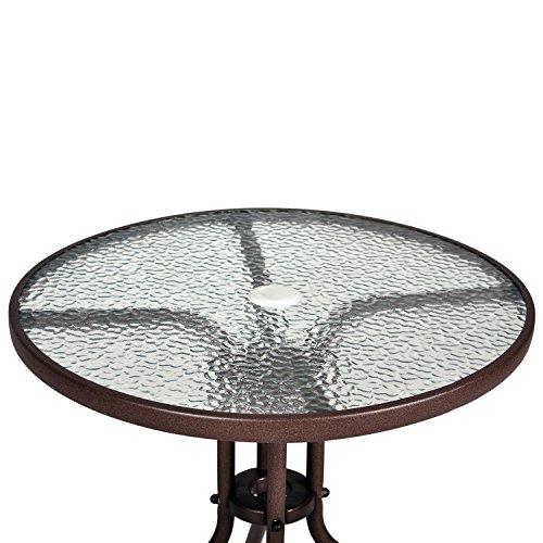 Nexos Bistroset Balkonset Rattanset – Sitzgarnitur aus Glastisch & Bistrostuhl – Stahlgestell Poly-Rattan Glasplatte – robust stapelbar – dunkel-braun - 7
