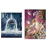 2 piezas de bricolaje 5D Diamond pintura arte completo taladro, flor Queen Elf y belleza y bestia...