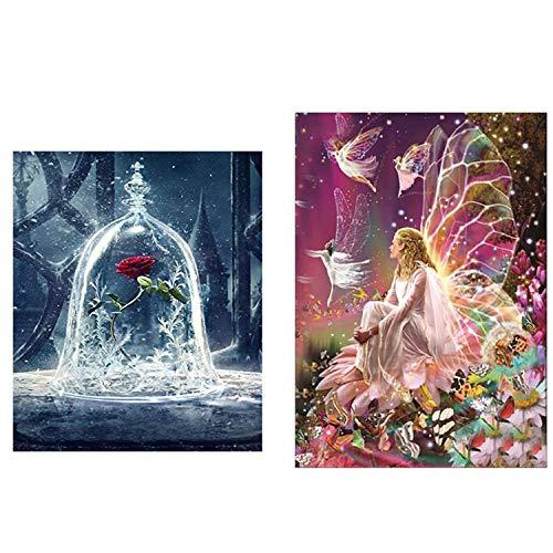 2 piezas de bricolaje 5D Diamond pintura arte completo taladro, flor Queen Elf y belleza y bestia Rose 5D Diamond Art, pintura de diamante conjunto bricolaje Art Deco (30 * 30 cm y 30 * 40 cm)