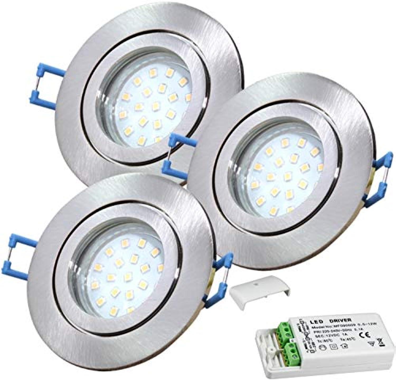 3 Stück IP44 SMD LED Bad Einbauring Neptun 12 Volt 3 Watt Rund Farbe Eisen geb. Lichtfarbe Neutralwei inkl. LED Trafo