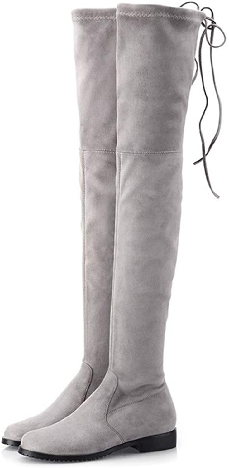 Women Fashion Faux Suede Over The Knee Boots Chunky Low Heel Thigh High Boots Lace Up Autumn shoes Boots