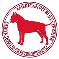 アメリカンピットブルテリア横向き ステッカー Cパターン グッズ 名前 シール デカール 犬 いぬ イヌ シルエット (ブラウン)