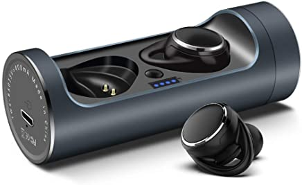 SENCER Bluetooth 5.0 True Wireless Earphones with Mic, 15 Hours Playtime Extra Bass 3D Sound and Touch Control (Black)