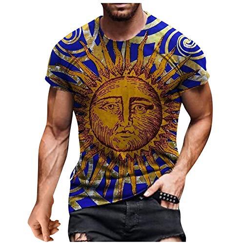 Top T-Shirt Herren Sommer Casual 3D-Bedruckte Kurzarm-Bluse mit rundem Hals (L,1Marine)