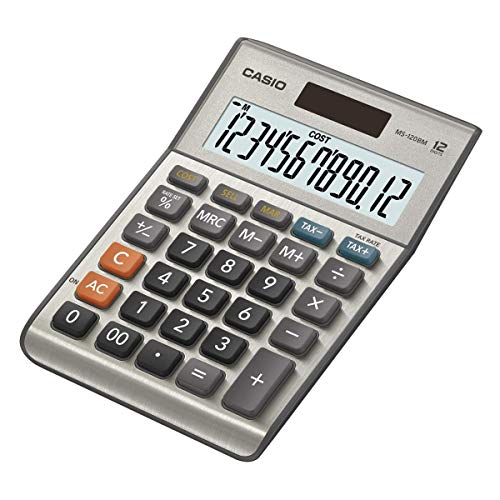 CASIO Tischrechner MS-120BM, 12-stellig, Steuerberechnung, Cost/Sell/Margin, Aluminiumfront, Solar-/Batteriebetrieb