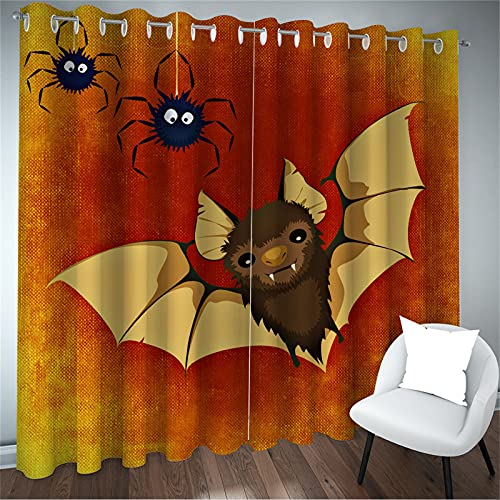 FACWAWF Impresión 3D Patrón De Bruja De Halloween Cortina De Alto Sombreado Insonorizado Murciélago Fantasma Patrón Cortina Sala De Estar Dormitorio Balcón Decoración Cortina 2xW117xH138cm