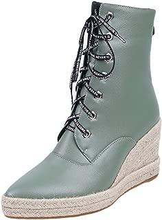 Melady Women Fashion Lace up Booties Wedge Heels Zipper