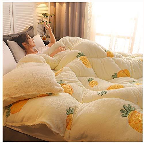 NXSP Baumwolle Verdicken Winter Bettdecken,oppelseitige Lammdecke Für Herbst Und Winter, Einfache Doppelte Steppdecke Aus Samt (Pineapple-White,200 * 230cm4kg)