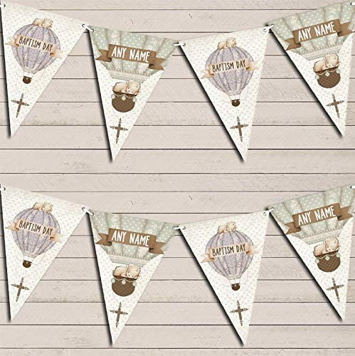 Hot Air Balloon Teddy Bear Vintage Baptism Day Banner Christening Personalised Bunting Banner Garland