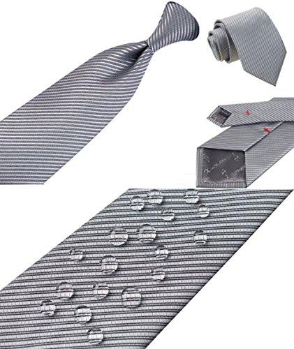 S.R HOME Rayures grises Ensemble Cravate étanche d'homme, Mouchoir, épingle et boutons de manchette coffret cadeau