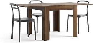 Mobili Fiver, Table Extensible, Eldorado, Noyer Canaletto, 90 x 90 x 79 cm, Made in Italy