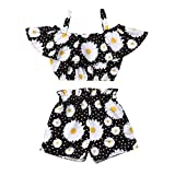 2pcs Toddler Baby Girl Halter Sleeveless Crop Top + Shorts Outfit Set Floral Clothes Summer Clothing 1-6t (Black, 5-6 Years)