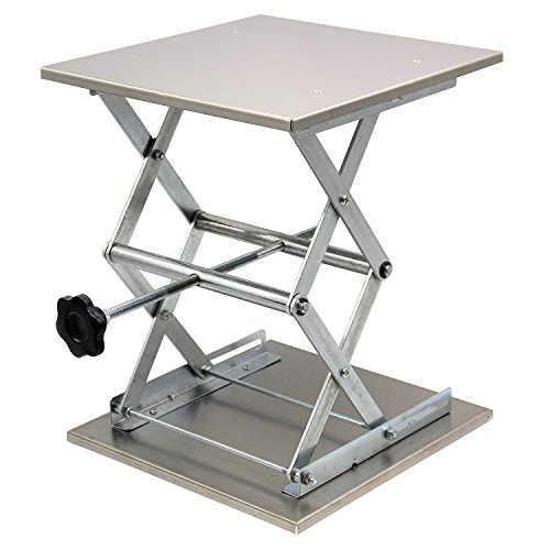 "HFS (R) Plate 12x12""; Overall Height 15""; Lab Jack Scissor Stand Platform LAB Load Bearing 25kg/55lbs"