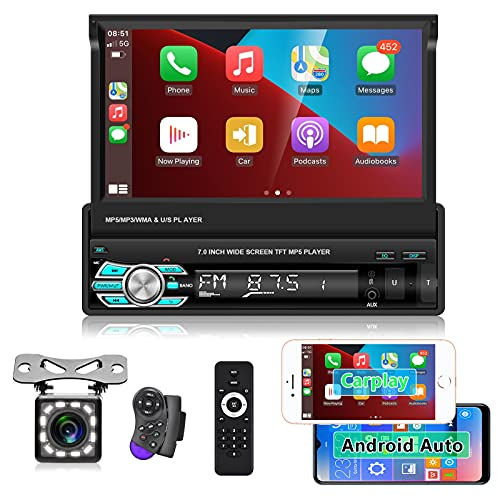 Hodozzy 1 Din Autoradio Carplay Android Auto 7' Flip-out Touch Screen Autoradio Bluetooth Lettore MP5 Supporto USB, TF, Radio FM, Aux-in, SWC, Android/iOS Mirror Link