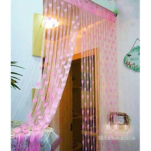Handloomwala Beautiful Summer Heart 2 Piece Polyester Net Curtain - 7ft, Pink
