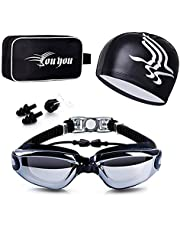 مجموعة نظارات سباحة بغطاء 4 في 1، عدسات حماية من الأشعة فوق البنفسجية 400 شفافة مضادة للضباب ونظارات سباحة مقاومة للماء ولا تقوم بالتسريب مع مشبك الأنف وسدادات الأذن للبالغين الرجال والنساء