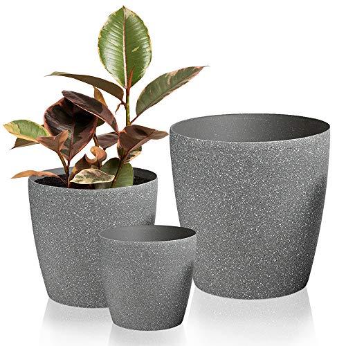 Worth Garden Luxury Set of 3 Resin Planter Grey Round Flower Pots with Drain Hole Planter for Plants Indoor Outdoor Garden Patio Deck Elegant Light & Unbreakable Large Medium Small 3-Year Warranty