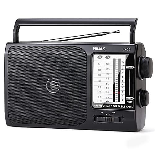 PRUNUS Radio Portatile J-05,Radio FM/AM,Transistore Radiolina Portatile,Con Altoparlante Grande,Alimentata Da Batterie O Alimentazione CA Per Uso Casa E All'aperto (Nero)