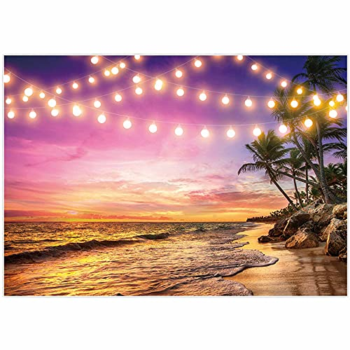 Allenjoy 7x5ft Summer Beach Backdrop Tropical Night Sunset Palm Tree Leaves Ocean Island Seaside Scene Wedding Photography Background Baby Birthday Bridal Shower Party Decor Banner Photo Booth Props