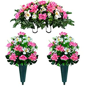 Sympathy Silks Artificial Cemetery Flowers – Realistic Vibrant Roses, Outdoor Grave Decorations – Non-Bleed Colors, and Easy Fit – 2 Pink Dahlia White Orchid Bouquets with 2 Vases and 1 Saddle