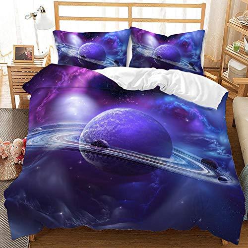 Set di biancheria da letto con motivo stellato, ultra morbido, per la cameretta dei bambini, 1 copripiumino e 1/2 federe (cielo stellato 2, matrimoniale)
