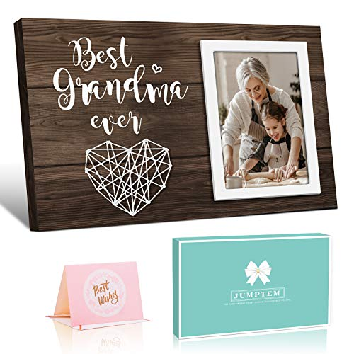 Mother' Day Gifts for Grandma Grandma Gifts Best Grandma Ever - Birthday Gifts for Grandma from Granddaughter and Grandson - Nana Grandmothers Picture Frame Gifts - Dark