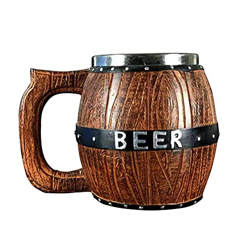 Sgfccyl Taza de cerveza de madera hecha a mano con taza de acero inoxidable de 19 onzas | Grandes ideas de regalo de cerveza de madera para hombres | Accesorios de bar vintage