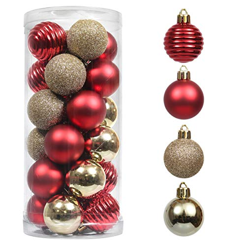 Valery Madelyn 24ct 40mm Luxury Red Gold Christmas Ball Ornaments Decoration, Shatterproof Plastic Small Xmas Christmas Tree Ornaments Balls, Themed with Tree Skirt (Not Included)