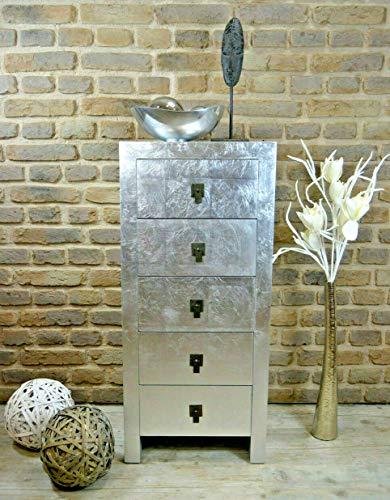 Livitat® Kommode Silber mit 5 Schubladen H100 cm Pomp pompös Bauhaus kubisch Landhaus LV2022