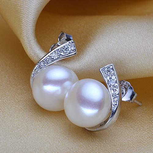 EHEDHXG Perlenohrringe Natürliche Süßwasserperlen Sterling Silber Schmuck Für Frauen Modeschmuck Zubehör Geschenk
